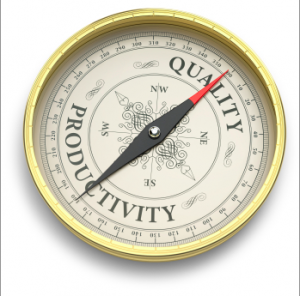 "A phot of a round gold-framed item that looks like a compass, but has the word ""Quality"" toward the top, and the word ""Productivity"" toward the bottom."